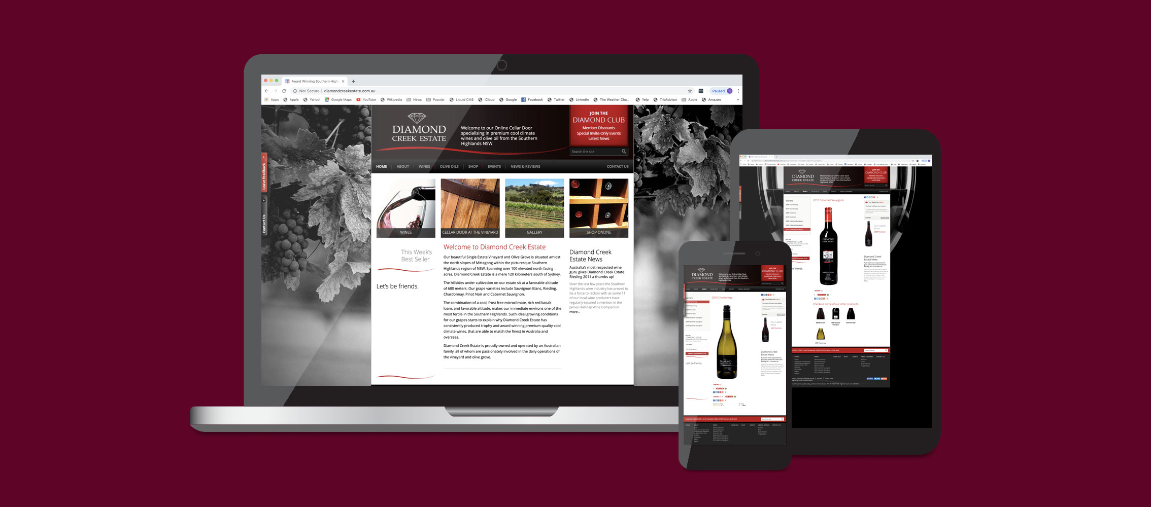 Diamond Creek Estate Website Ecommerce