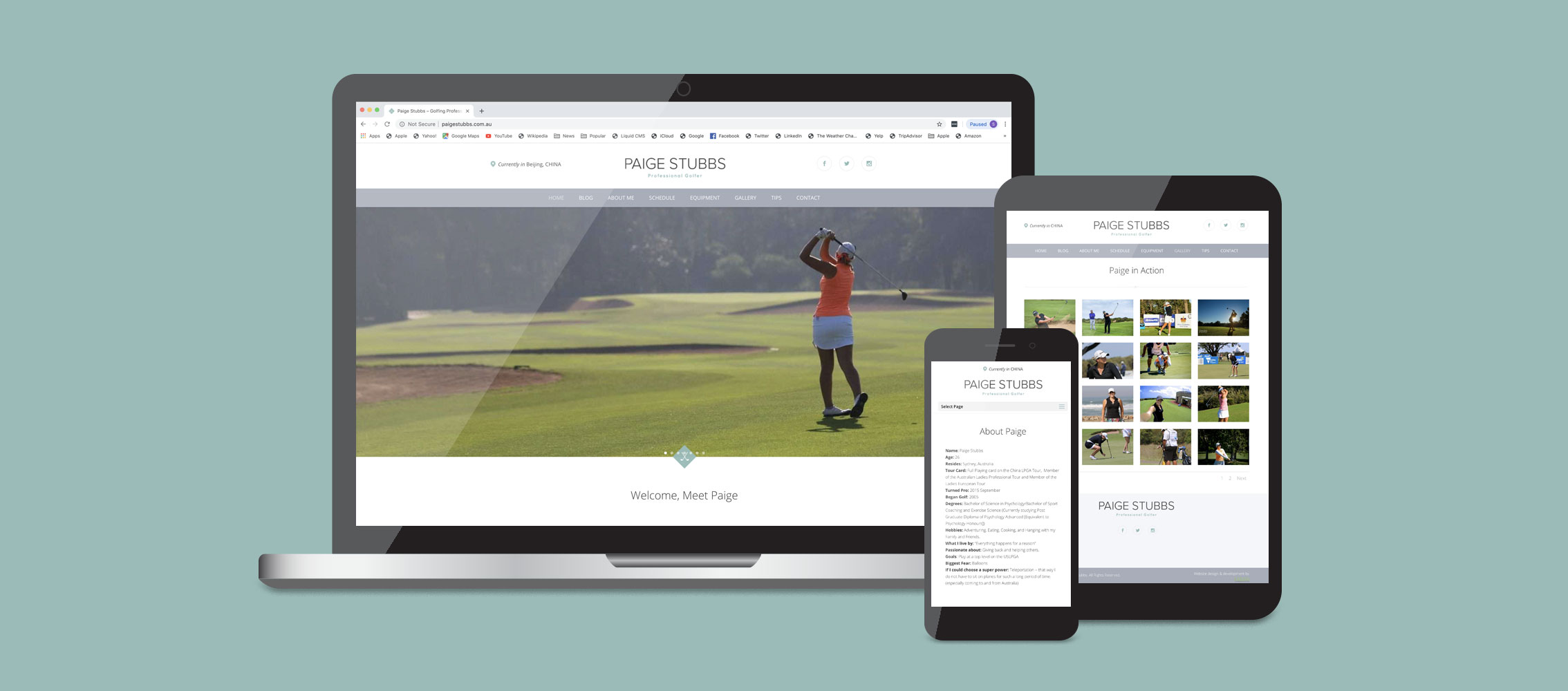 Paige Stubbs Golf Website Design