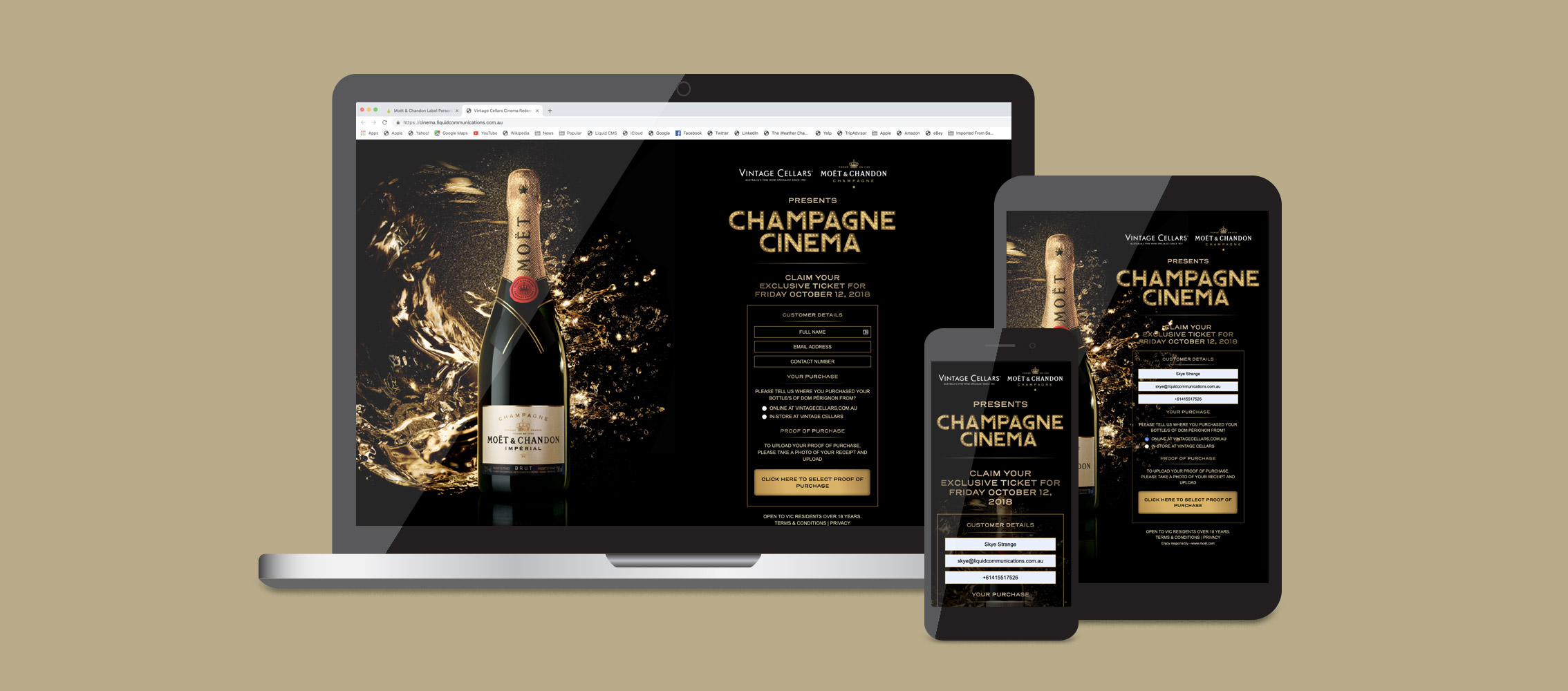Moët Chandon Champagne Cinema Micro site Design