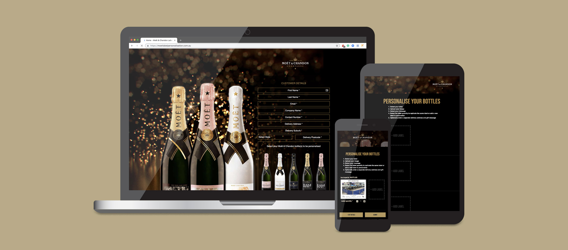 Moët Chandon Home Label Personalisation Micro site Design